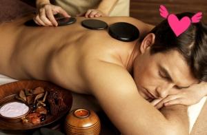 Masaje antiestres de espalda o facial con Piedras Calientes