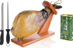 Paleta serrana + aceite + jamonero + cuchillo chaira